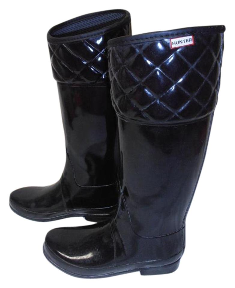 Hunter Black Regent Rigley Quilt Boots/Booties Band Riding Style Rain Boots/Booties Quilt dc742c