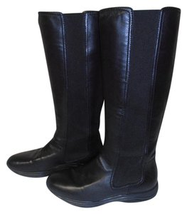 Prada Designer Leather Knee High Elastic Side Panels black Boots