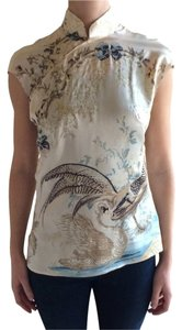 Roberto Cavalli Asian Silk Floral Top Multi-color