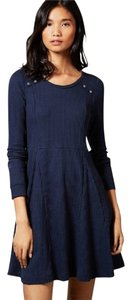 Anthropologie short dress Eloise Navy Knit Cotton Blend on Tradesy