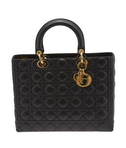 Dior Quilted Leather Tote in Black