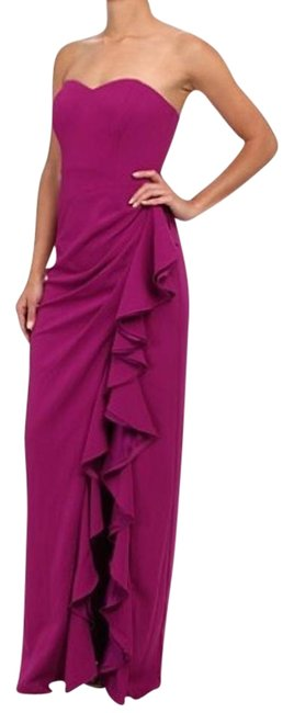 Item - Purple Strapless Ruffle Gown Long Formal Dress Size 4 (S)