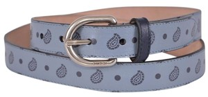 Gucci New Gucci Men's 337125 Blue Leather Paisley Skinny Belt 40 100