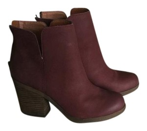 Lucky Brand Wooden Heel Leather Red Boots