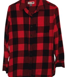 Old Navy Button Down Shirt Red & black