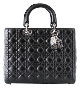 Dior Lady Cannage Lady Large Cannage Tote in Black