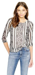J.Crew Lace Print Long Sleeve Top gray
