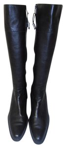 Lauren Ralph Lauren Designer Leather Knee High Side Zipper black Boots