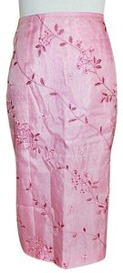 Ann Taylor LOFT Silk Embroidered Straight Pencil Skirt Pink