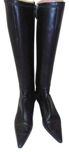 Chanel Designer Leather Knee High black Boots