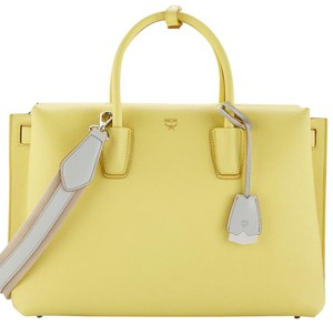 MCM Satchel in Custard Yellow