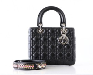 Dior Lady Medium Cannage Embellished Tote in Black