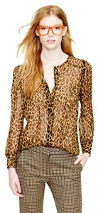 J.Crew Leopard Animal Print Silk Chiffon Top brown