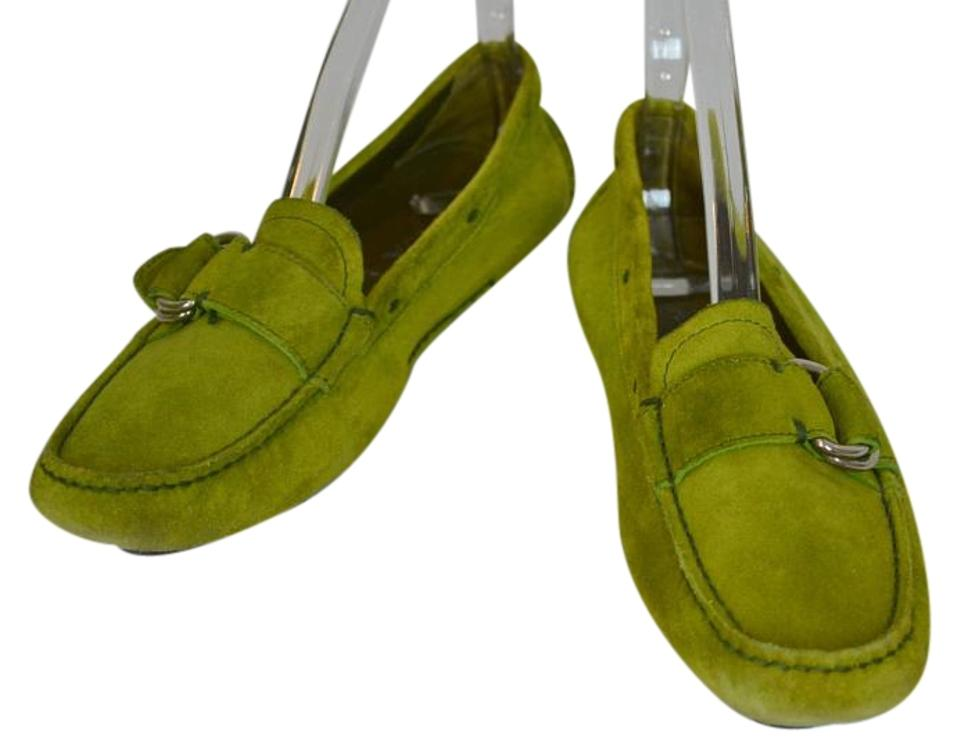 dc40d493a58 Prada Womens Suede Buckle Green Flats Image 0 ...