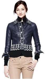 Tory Burch Lambskin Polyester Med Navy with Tapioca Leather Jacket
