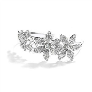 Mariell Silver Spectacular Headband with Crystal Flowers and Split Band 4034hb Tiara