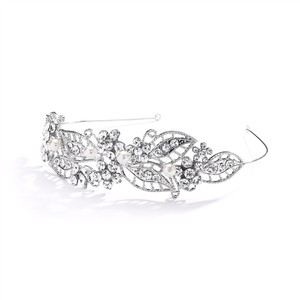 Mariell Silver Antique Filigree Headband Or with Leaves and Pearls 4048hb Tiara