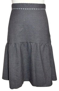 Rebecca Taylor Tiered Houndstooth Check Trumpet Skirt Gray