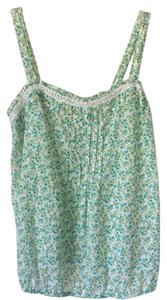 Old Navy Top Green, yellow, white floral print