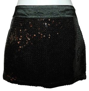 H&M Mini Sequins Size 6 Retro Mini Skirt Black