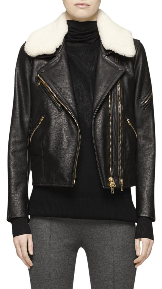 ce4126388 Rag & Bone Black New Biker with Shearling Collar Jacket Size 4 (S) 66% off  retail