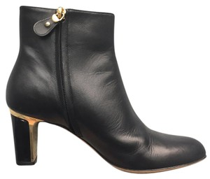 Salvatore Ferragamo Leather black with gold trim Boots