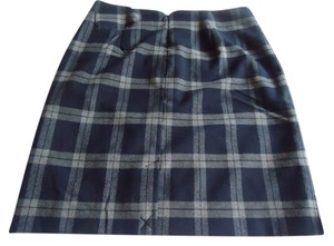 Banana Republic Navy Gray Mini Plaid Mini Skirt
