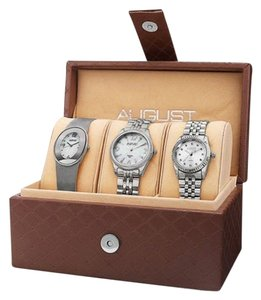 August Steiner 3pc Diamond/Mother of Pearl Watch Wardrobe w/Beautiful Keepsake Box