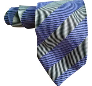 Timo Cosima Timo Cosima Blue & Silver Diagonal Striped 100% Silk Men's Tie