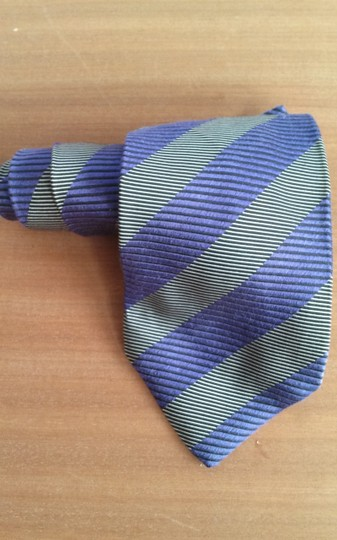 Timo Cosima Timo Cosima Blue & Silver Diagonal Striped 100% Silk Men's Tie Image 2