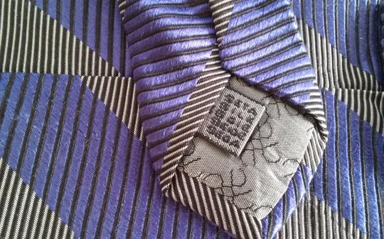 Timo Cosima Timo Cosima Blue & Silver Diagonal Striped 100% Silk Men's Tie Image 3