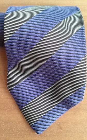Timo Cosima Timo Cosima Blue & Silver Diagonal Striped 100% Silk Men's Tie Image 5