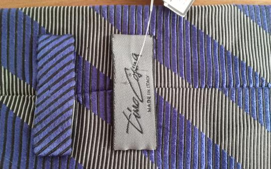 Timo Cosima Timo Cosima Blue & Silver Diagonal Striped 100% Silk Men's Tie Image 7