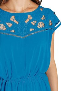 Free People Cut-out Top Turquoise Blue