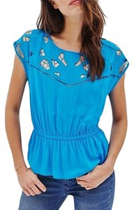 Free People Turquoise Cut-out Peplum Rayon Top Turquoise Blue