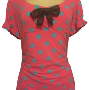 Betsey Johnson short dress Pink With Teal Blue Polka Dots on Tradesy
