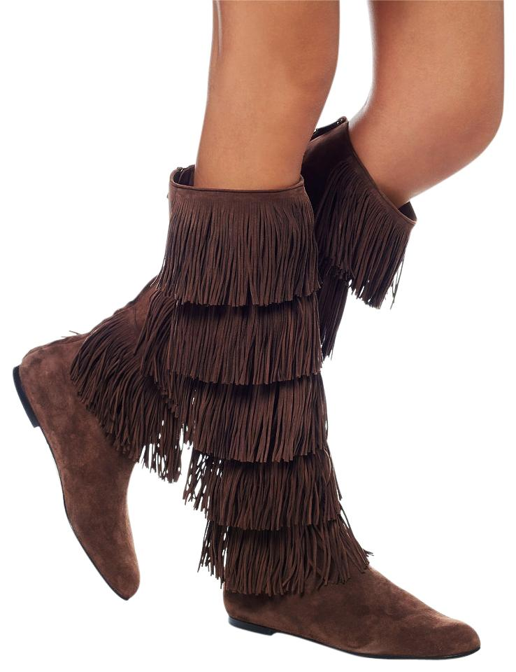 Paul Suede Andrew Brown New Suede Paul Tiered Fringe Knee Boots/Booties 12180c