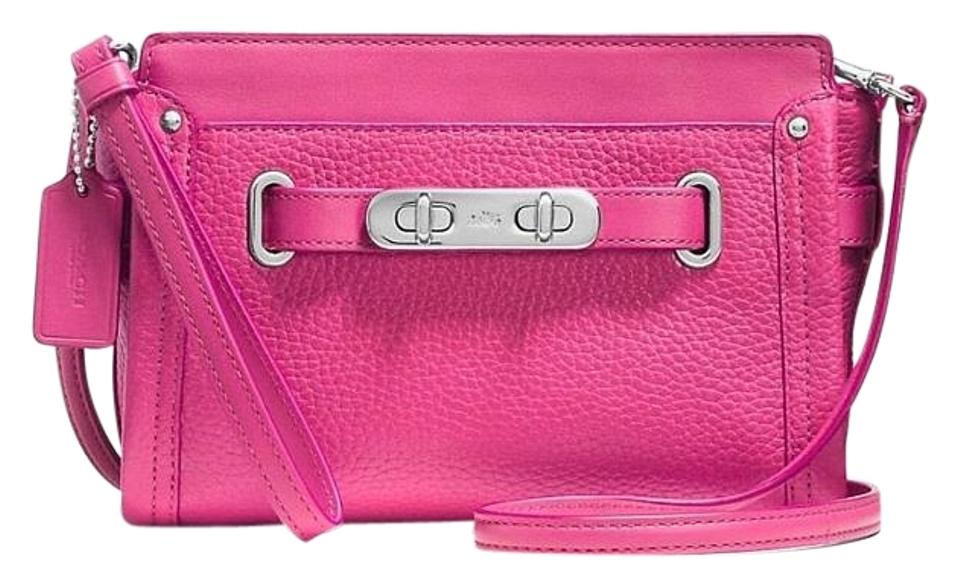 3dbe00c226 Coach Swagger 53032 Wristlet Colorblock Messenger Pink Leather Cross Body  Bag