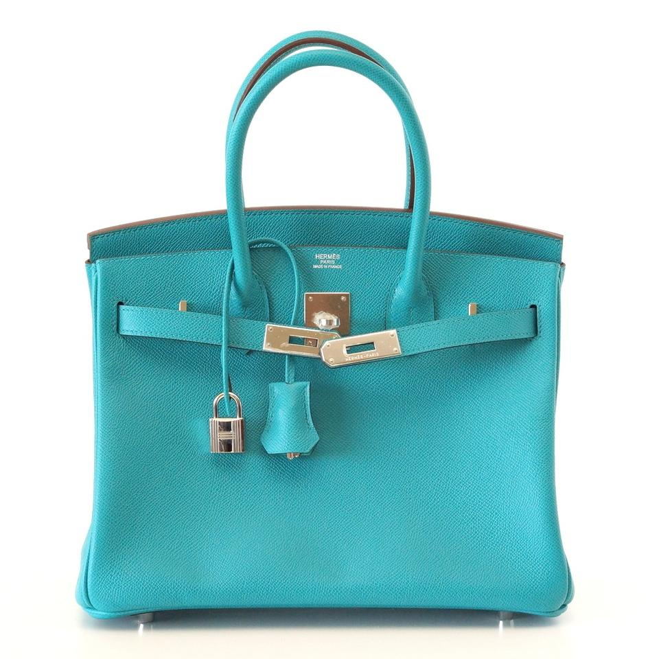 Hermès Birkin 30 Rare Paon Epsom Palladium Hardware Blue Leather ... eacbd2049