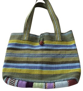 Hand made artisan tote bag From a Costa Rican village named Boruca, Costa Rica. Tote in Multiple Green Shades And 2 Blue Shade