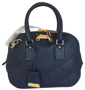 Burberry Orchard Embossed Check Satchel in Blue Carbon