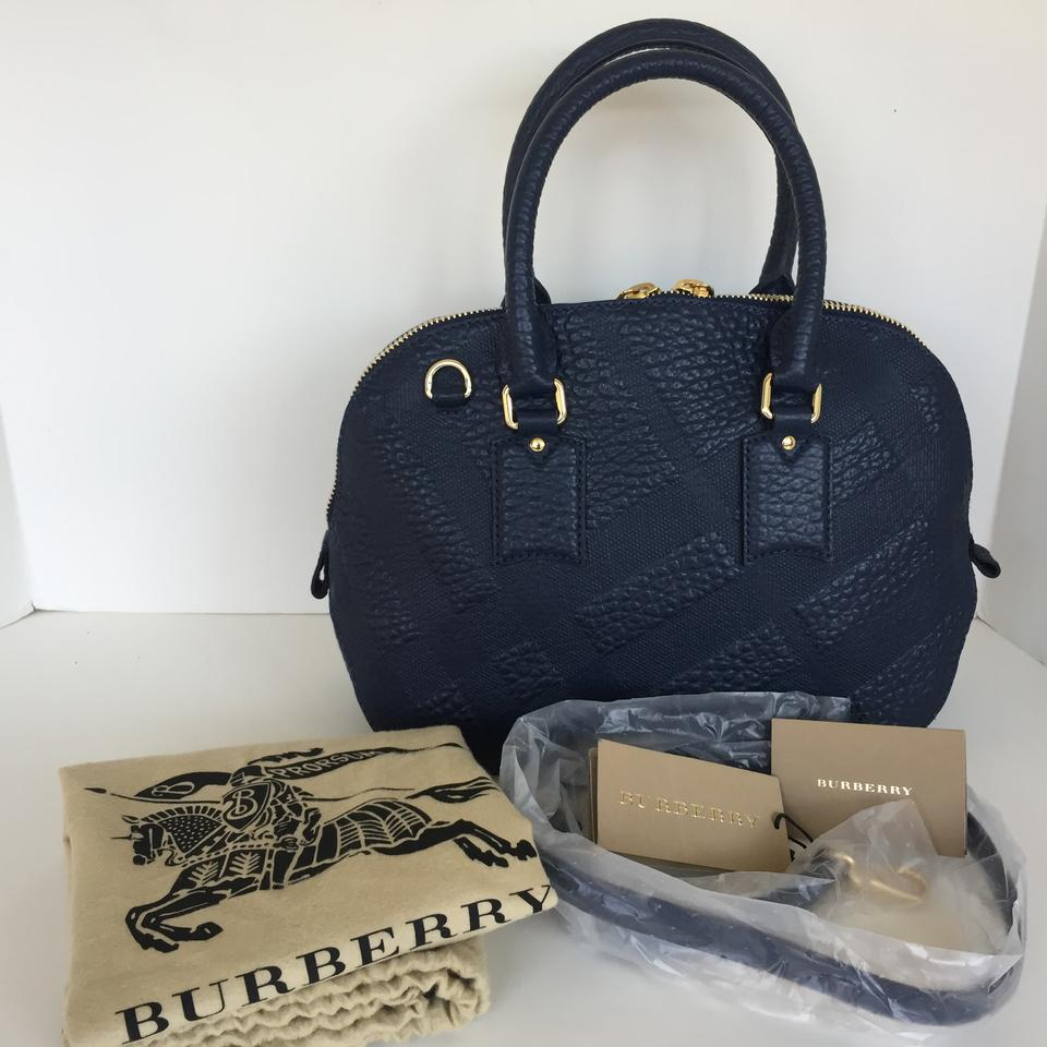 22dede39c97e Burberry Small Orchard Embossed Check Bowling Blue Carbon Leather Satchel