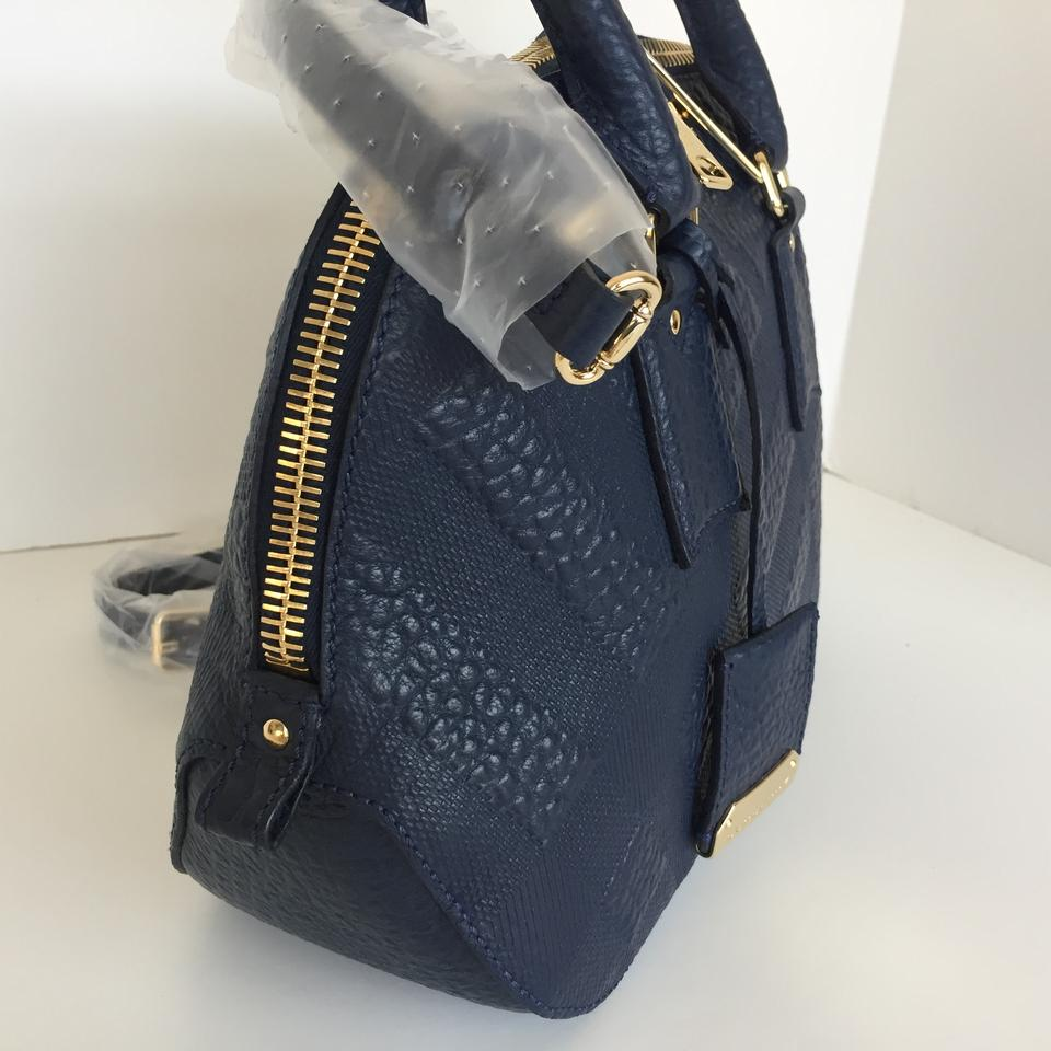 db45f16179e1 Burberry Small Orchard Embossed Check Bowling Blue Carbon Leather Satchel -  Tradesy