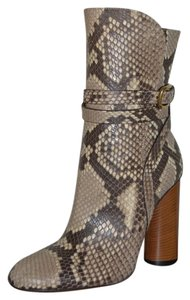 Gucci Leather Ankle Python Python Taupe Boots