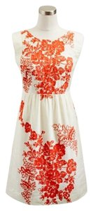 J.Crew short dress MUSLIN POPPY ORANGE WHITE EMBROIDERED Floral on Tradesy