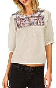 Free People Peasant Boho Embroidered White Top Ivory White