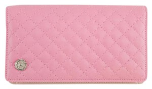Chanel #8849 Chanel Pink Quilted Smooth calfskin long wallet RARE