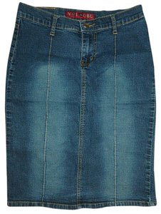 YMI Jeans Ubu Junior Stretch Denim Junior Size 5 Straight Pencil Mini Skirt Blue