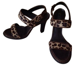 Franco Sarto Calf Hair Brown, leopard Sandals