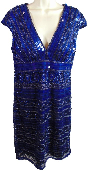 Preload https://img-static.tradesy.com/item/19722189/navy-blue-sequin-covered-new-mid-length-cocktail-dress-size-12-l-0-4-650-650.jpg